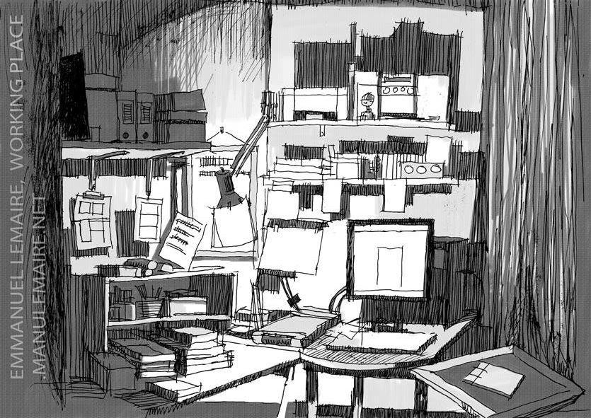 Atelier d'Emmanuel Lemaire vu par Emmanuel Lemaire